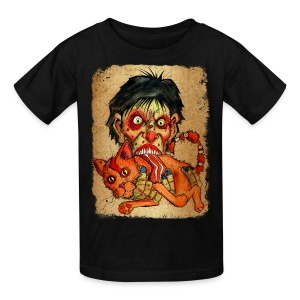 kids zombie eating bacon cat - Kids' T-Shirt