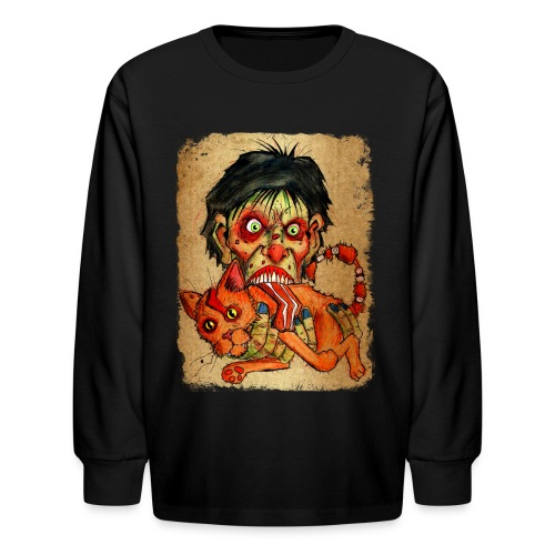 kids zombie eating bacon cat - Kids' Long Sleeve T-Shirt