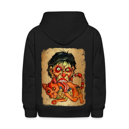 kids zombie eating bacon cat - Kids' Hoodie