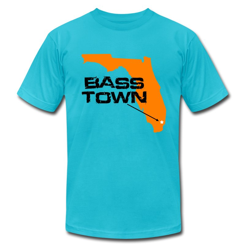 Bass Town (Turquoise) - Men's T-Shirt by American Apparel