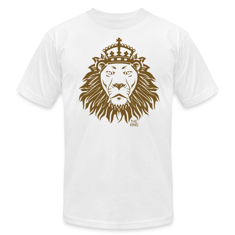 The king lion gold glitz print men 39 s american apparel for T shirt and hat printing