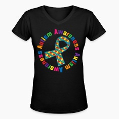 Autism Awareness Puzzle Ribbon Women's T-Shirts