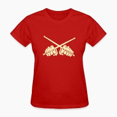 rock 'n' roll drummer fists Women's T-Shirts
