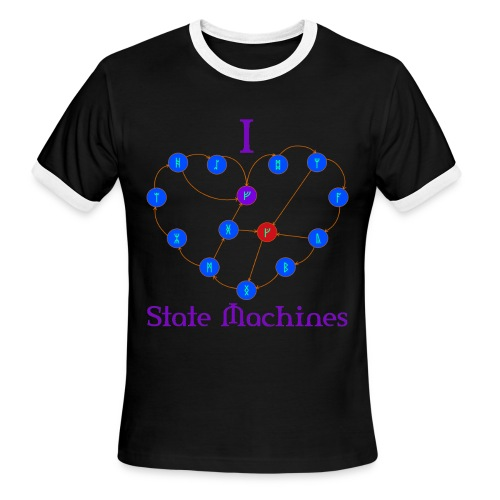 I Heart State Machines (for dark t-shirts) - Men's Ringer T-Shirt