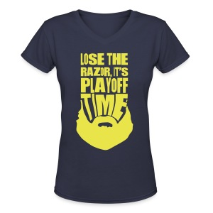Lose The Razor It's Playoff Beard Time T-Shirt - Women's V-Neck T-Shirt