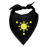 Caps ~ Bandana ~ Black Bandana with 3 Stars and Sun