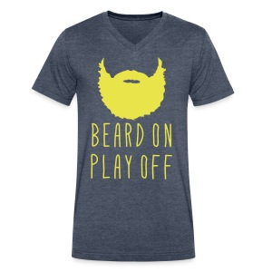 Playoff Beard 'Beard On Play Off' T-Shirt - Men's V-Neck T-Shirt by Canvas