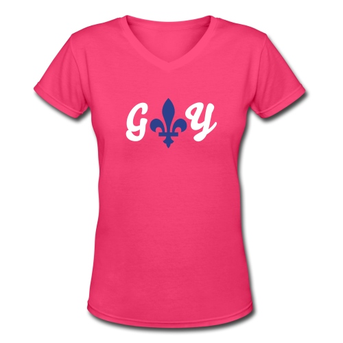 Women's Gay fleur de lis T Shirt - Women's V-Neck T-Shirt