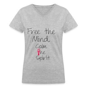Free the mind calm the spirit Women's V-Neck T-Shirt - Women's V-Neck T-Shirt