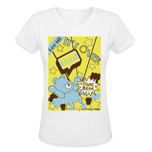 Hi Cereal-Yellow - Women's V-Neck T-Shirt