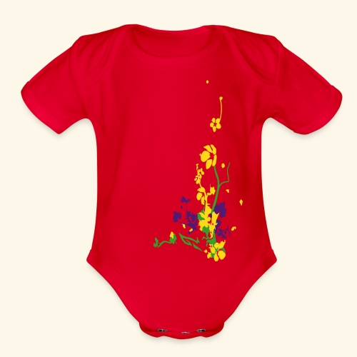 Spring has sprung/front and back - Organic Short Sleeve Baby Bodysuit