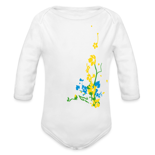 Spring has sprung/front and back - Organic Long Sleeve Baby Bodysuit