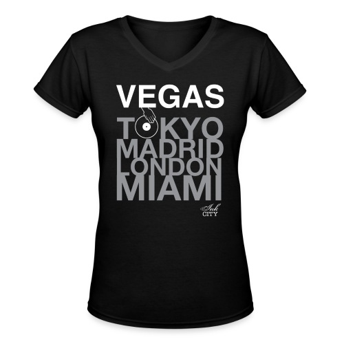Ladies: Vegas DJ - Women's V-Neck T-Shirt
