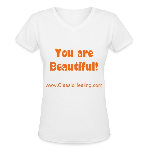 You are Beautiful - White - Women's V-Neck T-Shirt
