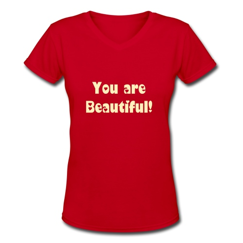 You are Beautiful - Red - Women's V-Neck T-Shirt