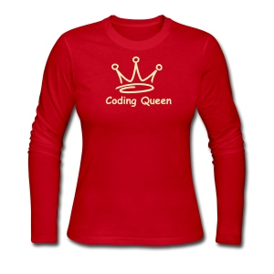 Red LS Coding Queen  - Women's Long Sleeve Jersey T-Shirt