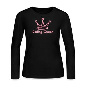 Black LS Coding Queen - Women's Long Sleeve Jersey T-Shirt