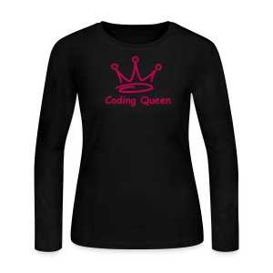 Pink LS Coding Queen  - Women's Long Sleeve Jersey T-Shirt