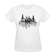 Chicago Skyline Silhouette Vector with Roots Tee T-Shirt | Spreadshirt