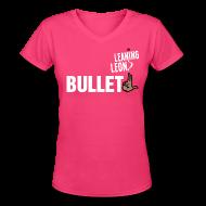 Women's T-Shirts ~ Women's V-Neck T-Shirt ~ Women's Leaning Leon v-neck t-shirt