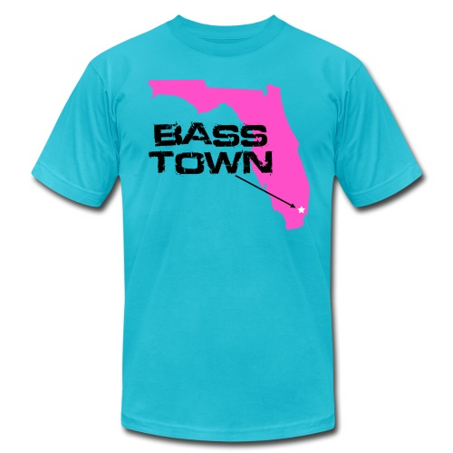 Bass Town (Turquoise-Pink) - Men's T-Shirt by American Apparel