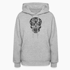 Mexican skull, floral pattern - Days of the Dead Hoodies