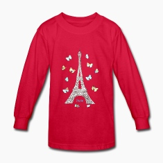 Paris Love Blue Butterflies Kids' Shirts