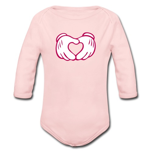 Light Pink   Love Hands - Organic Long Sleeve Baby Bodysuit