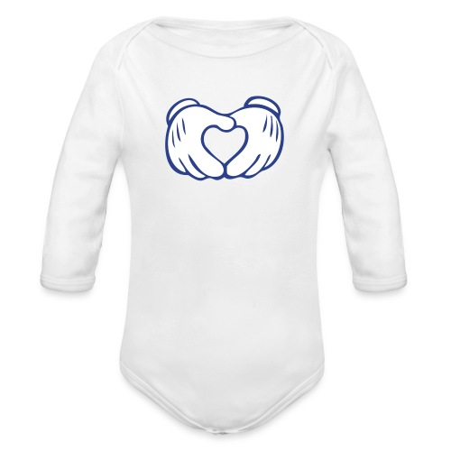 Powder Blue   Love Hands - Organic Long Sleeve Baby Bodysuit