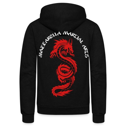 Adult Hoodie: Red Dragon - BLACK - Unisex Fleece Zip Hoodie by American Apparel