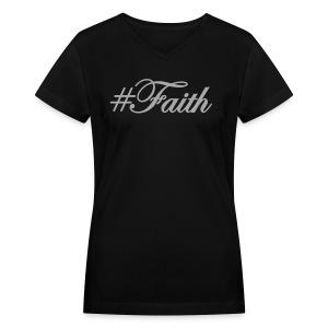 Silver Glitz #Faith Tee by Alexis Bellino - Women's V-Neck T-Shirt