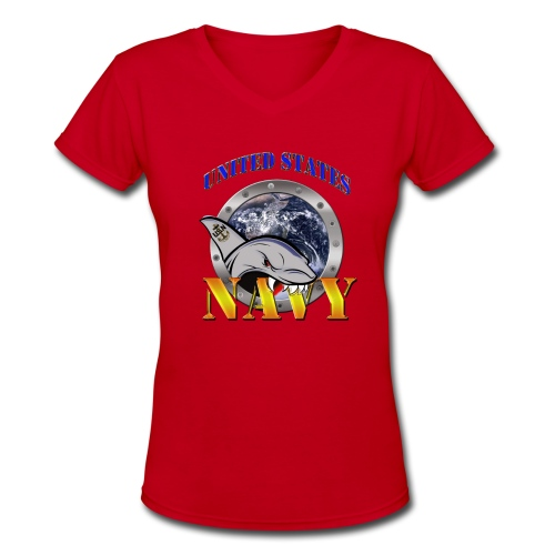 USNavySharkShirt - Women's V-Neck T-Shirt