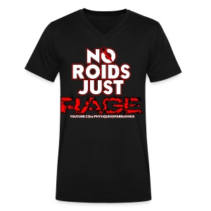 No Roids White Text VNeck - Men's V-Neck T-Shirt by Canvas