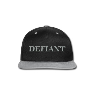 Black and Silver Defiant Snap-Back Hat - Snap-back Baseball Cap