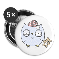 Buttons ~ Large Buttons ~ Sleepy Night Owl Buttons