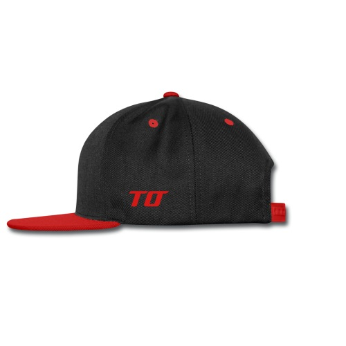 Snap-back Baseball Cap - Black and Red Snapback with Red Obstruction and TO