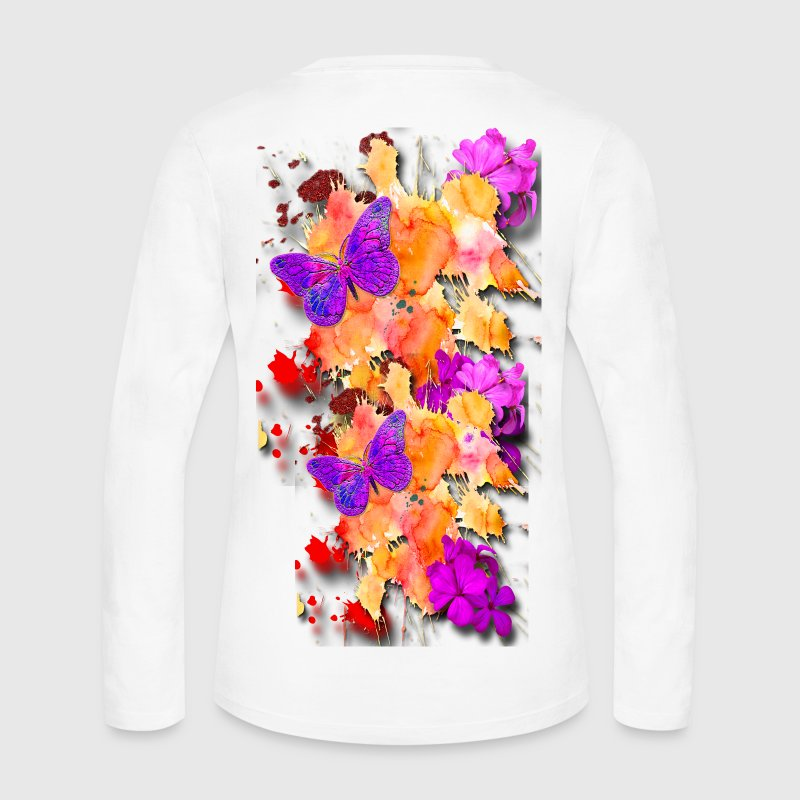 Butterfly garden long sleeve shirt spreadshirt for Garden t shirt designs