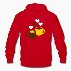 two coffee cups with love hearts Zip Hoodies & Jackets