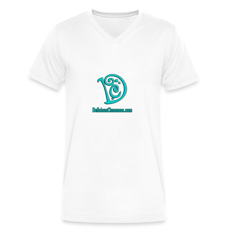 DC Logo (Men) (White) (V-Neck) - Men's V-Neck T-Shirt by Canvas