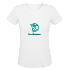 DC Logo (Women) (White) (V-Neck) - Women's V-Neck T-Shirt