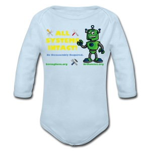 All Systems INTACT! Robot - Long Sleeve Baby Bodysuit