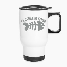 I'd rather be eating FIS (bones) funny cat design Bottles & Mugs