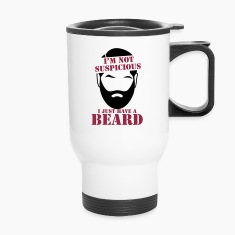 I'm not suspicious I just have a BEARD! funny joke Bottles & Mugs