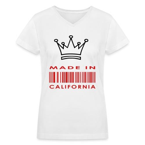 womens made in cali white - Women's V-Neck T-Shirt