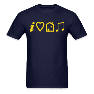 T-Shirts ~ Men's T-Shirt ~ I Love House Music (Symbolic, Yellow on blue, Flock - Velvety)