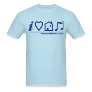 T-Shirts ~ Men's T-Shirt ~ I Love House Music (Symbolic, Blue on Sky Blue) - Ver.2