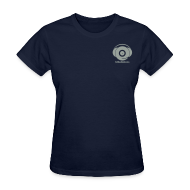 T-Shirts ~ Women's T-Shirt ~ Classic Logo Design + text ! For Women ! (grey logo on navy blue)