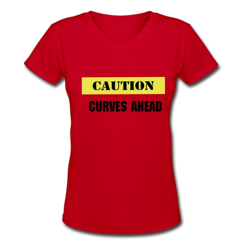 Caution Tee - Women's V-Neck T-Shirt