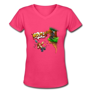 No Plz T-Shirt (F) - Women's V-Neck T-Shirt