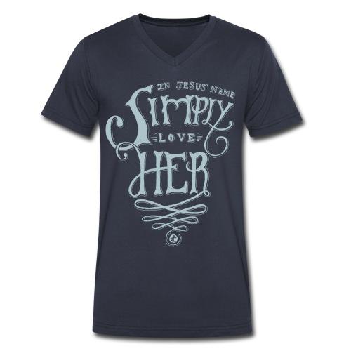 Simply Love Her V-neck Tee - Men - Men's V-Neck T-Shirt by Canvas